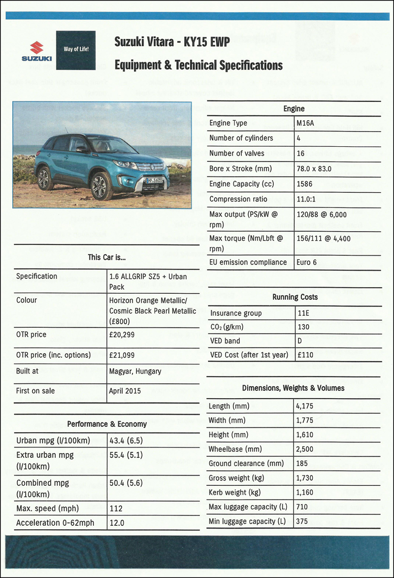 Suzuki Vitara specification